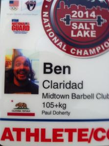 My official coach credentials for the 2014 National Championships.