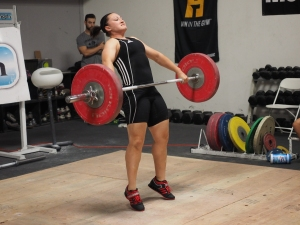 """Sick """"triplestension"""" brah.  Jen had a huge day, snatching 70 and clean and jerking 92.  Both PRs."""